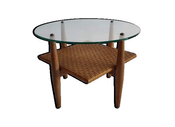 Table basse vintage en bois, verre et rotin tressé des années 60