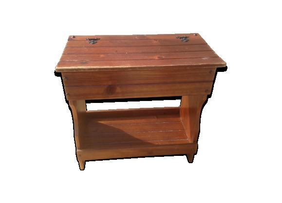 tabouret coffre ancien bois m tal ann e 60 vintage bois mat riau bois couleur dans. Black Bedroom Furniture Sets. Home Design Ideas