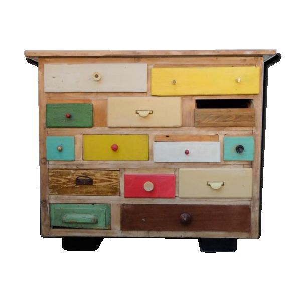 commode tiroirs color e vintage bois mat riau multicolore bon tat vintage. Black Bedroom Furniture Sets. Home Design Ideas