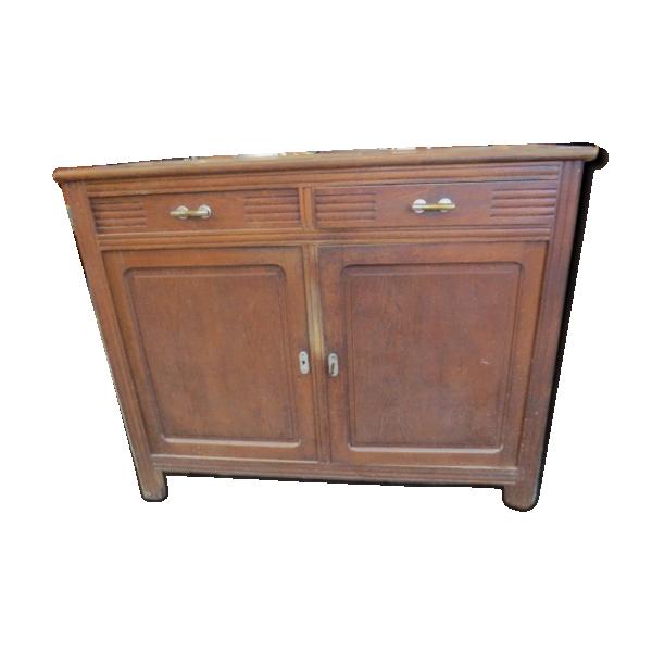 buffet bas en ch ne deux portes et deux tiroirs bois mat riau marron dans son jus. Black Bedroom Furniture Sets. Home Design Ideas