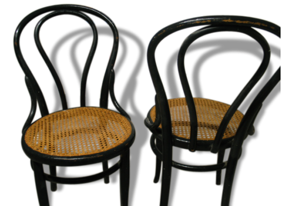 2 chaises bistrot cann es style thonet bois mat riau. Black Bedroom Furniture Sets. Home Design Ideas