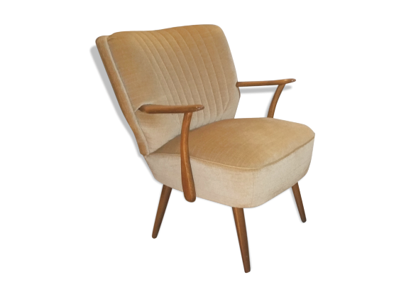 fauteuil cocktail ann es 50 60 tissu jaune bon tat vintage. Black Bedroom Furniture Sets. Home Design Ideas