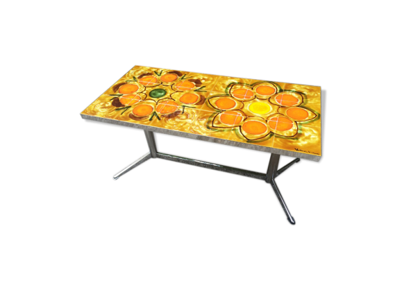 table basse sign e vallauris ann es 60 m tal orange. Black Bedroom Furniture Sets. Home Design Ideas