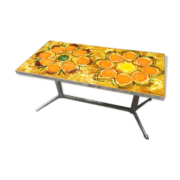 table basse sign e vallauris ann es 60 m tal orange bon tat vintage. Black Bedroom Furniture Sets. Home Design Ideas