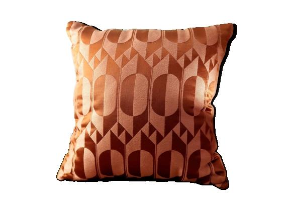Coussin motifs graphique rose et cuivre