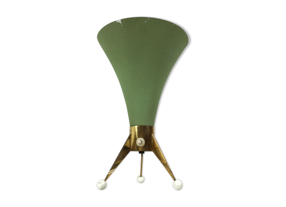 lampe de table tripode des ann es 50 m tal vert dans son jus vintage. Black Bedroom Furniture Sets. Home Design Ideas