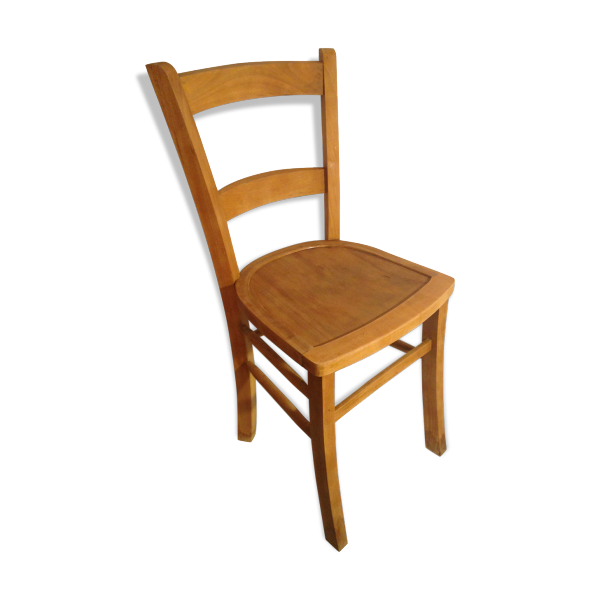 chaise ancienne bistrot luterma bois brut annee 50 vintage bois mat riau bois couleur. Black Bedroom Furniture Sets. Home Design Ideas