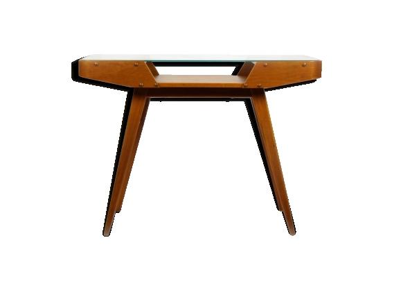 Table basse bois et verre années 60