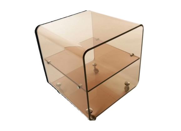 table basse en plexiglass fum par michel dumas 1974 plexiglas transparent bon tat. Black Bedroom Furniture Sets. Home Design Ideas