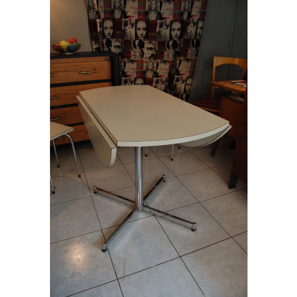 Table de cuisine en formica blanc rabats ann es 60 for Table cuisine annee 60