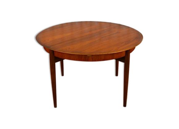 Table ronde design scandinave en teck lubke vintage 1960 for Table ronde style scandinave