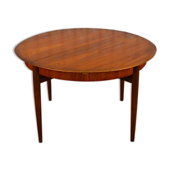 Table ronde design scandinave en teck lubke vintage 1960 for Table ronde design scandinave
