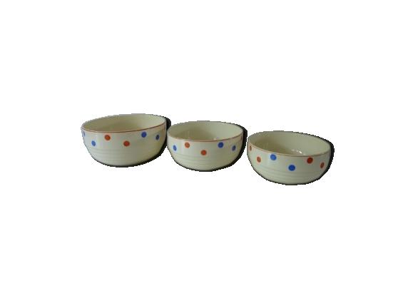 3 saladiers à pois Porcelaine Badonviller France
