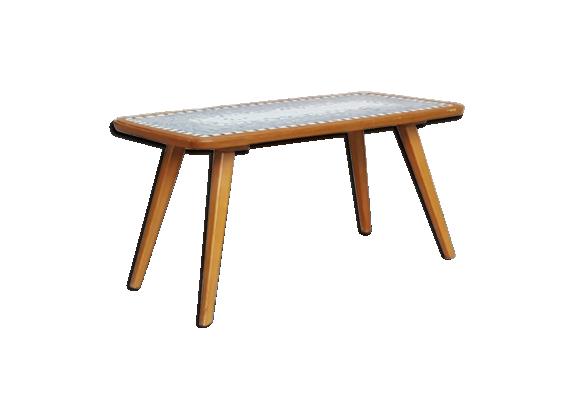table basse mosa que et bois pieds compas c ramique porcelaine fa ence multicolore bon. Black Bedroom Furniture Sets. Home Design Ideas