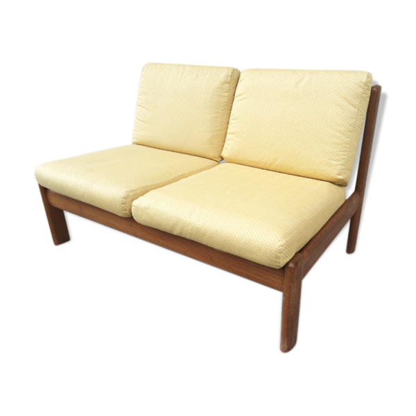 banquette scandinave teck blond 2 places 1960 bois mat riau marron bon tat. Black Bedroom Furniture Sets. Home Design Ideas