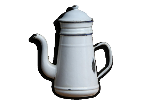 Ancienne cafetière émail blanche