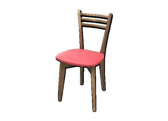 chaise ann es 50 en h tre massif assise rouge le fait main. Black Bedroom Furniture Sets. Home Design Ideas
