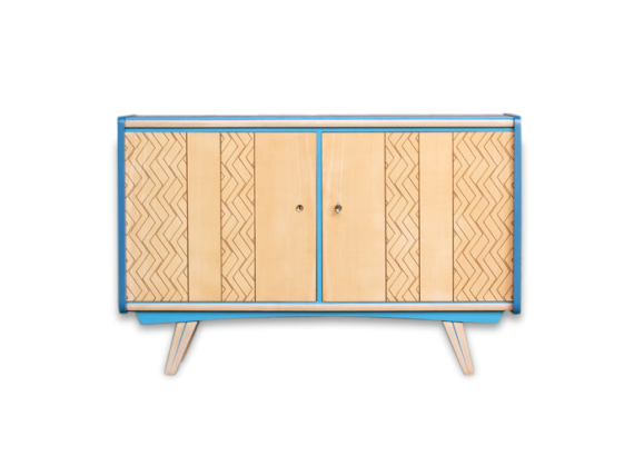 meuble buffet vintage relook bleu bois graphique bois mat riau bleu bon tat. Black Bedroom Furniture Sets. Home Design Ideas