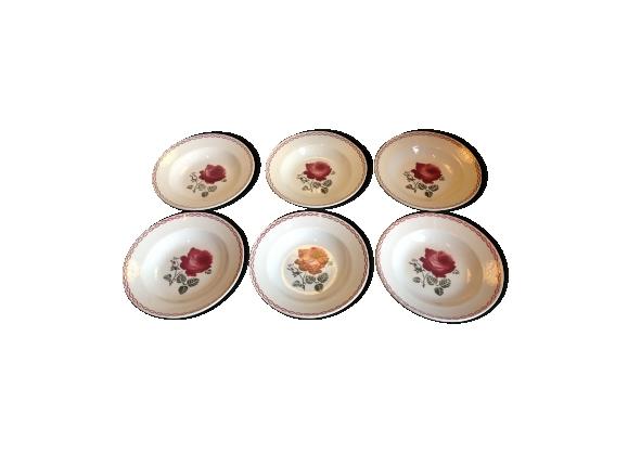Six assiettes creuses de Badonviller décor Germaine vintage années 50-60