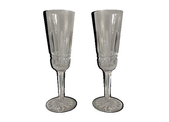 Duo de flûtes à champagne en cristal de Baccarat