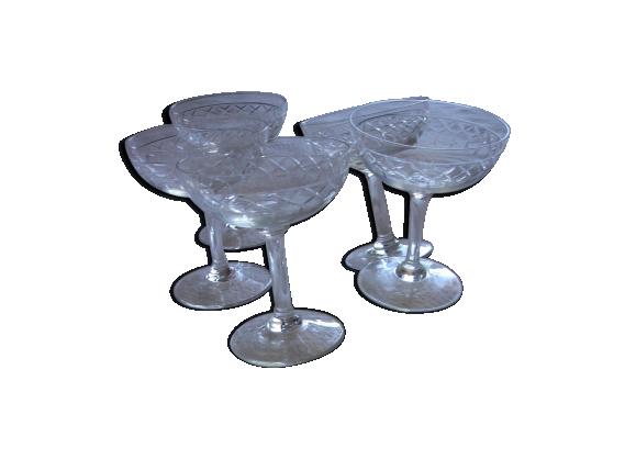 Lot verres coupes de champagne verre et cristal - Bureau transparent verre ...