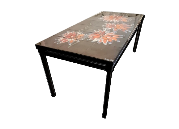 Table carrelée noire avec fleurs orange de Adri 1970s