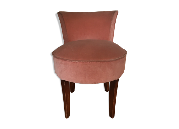 Fauteuil recouvert de velours rose bois mat riau rose dans son jus - Fauteuil velours rose ...