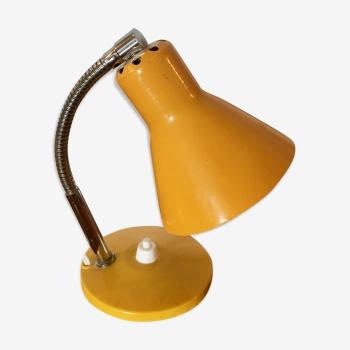 Lampe de bureau chevet jaune 19cm vintage 1960