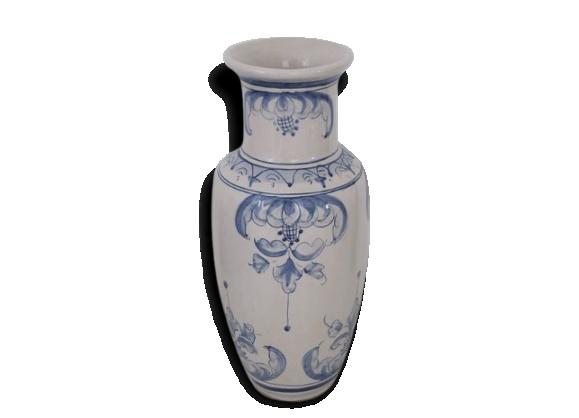 Vase en céramique beige et bleu
