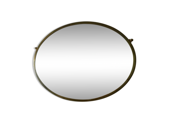 Ancien miroir laiton 66x48cm vintage 1950 laiton dor for Miroir laiton