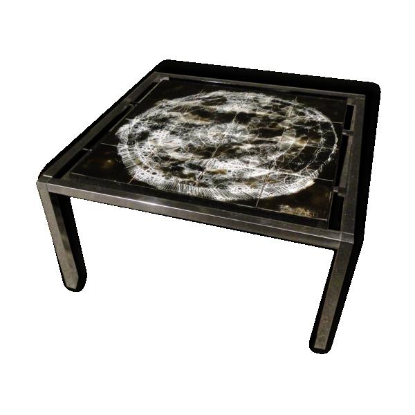 table basse des ann es 70 m tal gris bon tat design 117895. Black Bedroom Furniture Sets. Home Design Ideas