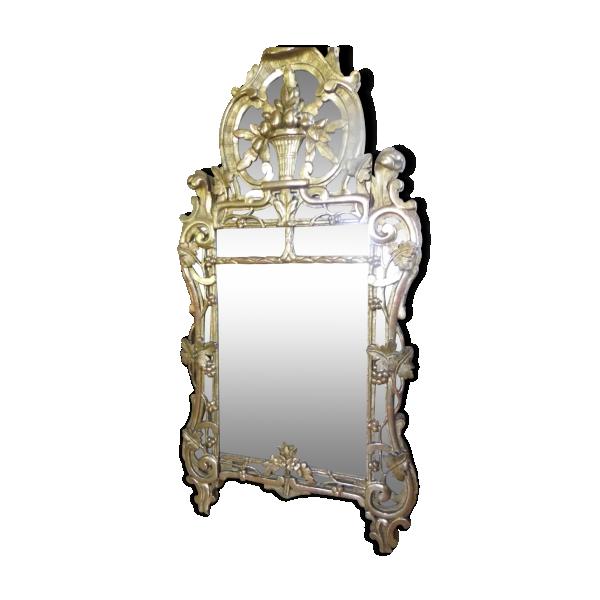 Miroir louis xiv bois mat riau dor bon tat for Miroir louis xiv