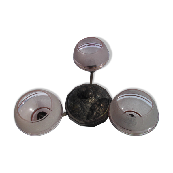 plafonnier en verre granit rose art d co verre et cristal rose bon tat art d co. Black Bedroom Furniture Sets. Home Design Ideas
