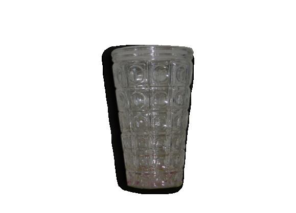 Vase en verre transparent, motifs géometriques vintage 1960/1970