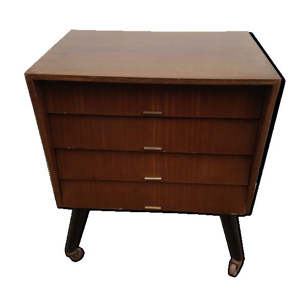 commode 4 tiroirs bois pieds compas roulettes ann e 50 vintage bois mat riau marron. Black Bedroom Furniture Sets. Home Design Ideas