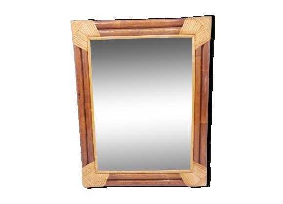 Miroir rectangulaire en bois et osier bois mat riau for Miroir rectangulaire en rotin