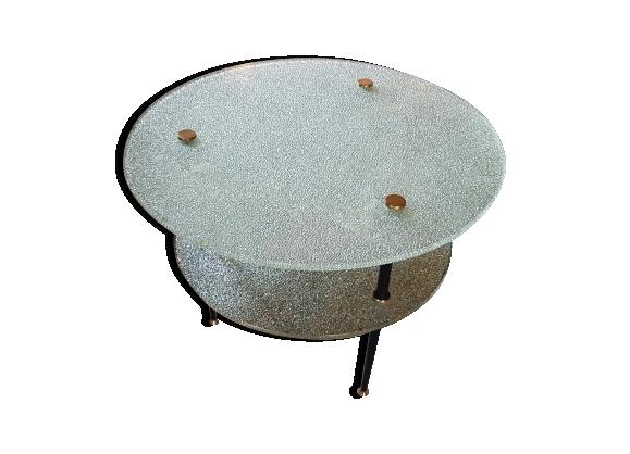 Table basse ronde 2 plateaux verre granité argenté 1950