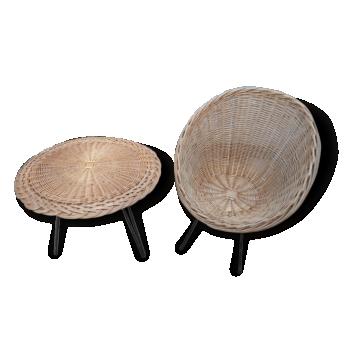 Fauteuil + table basse rotin pieds métal
