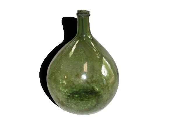 bonbonne ancienne dame jeanne en verre vert avec bulles verre et cristal vert dans son. Black Bedroom Furniture Sets. Home Design Ideas