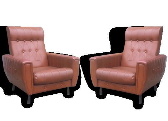 fauteuils de salon en ska marron ann es 1960 cuir marron bon tat vintage 9760. Black Bedroom Furniture Sets. Home Design Ideas
