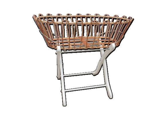couffin rotin sur support rotin et osier bois couleur bon tat vintage. Black Bedroom Furniture Sets. Home Design Ideas