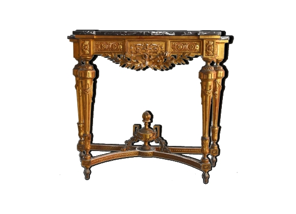 Console époque XIXème bois et stuc doré de style Louis XVI