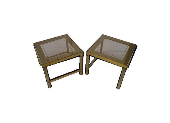 Paire bouts de canapé en bronze doré et verre miroir des années 70