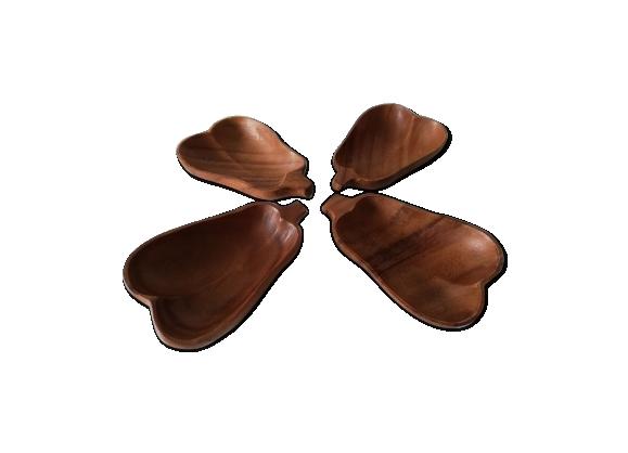 Set de 4 coupelles apéritif en bois en forme de poire