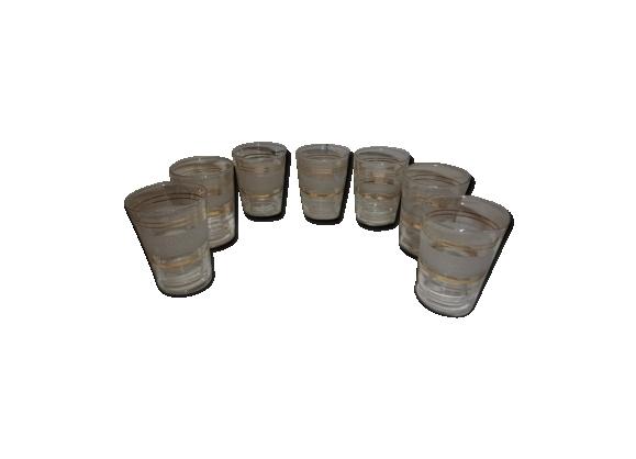 6 verres à digestif liqueur en verre et granité
