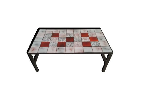 Table basse en céramique et structure métalique laquée noir des années 50