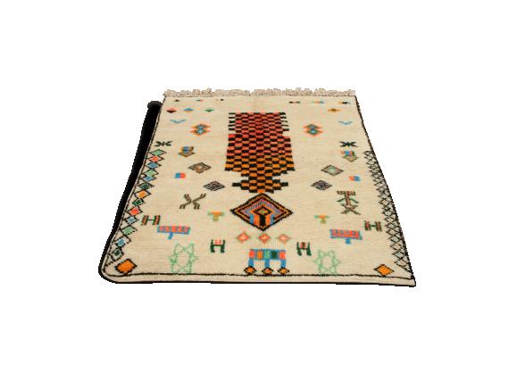tapis azilal marocain vintage en laine tissu multicolore bon tat thnique. Black Bedroom Furniture Sets. Home Design Ideas