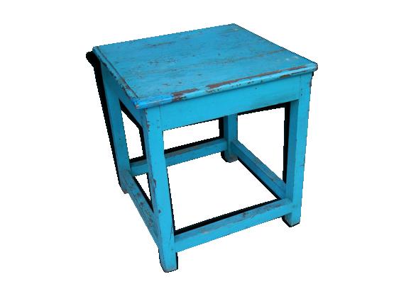 chevet ou petite table d 39 appoint teck bleu bon tat. Black Bedroom Furniture Sets. Home Design Ideas