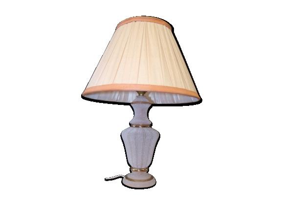 Lampe de chevet années 50 en verre rose granité