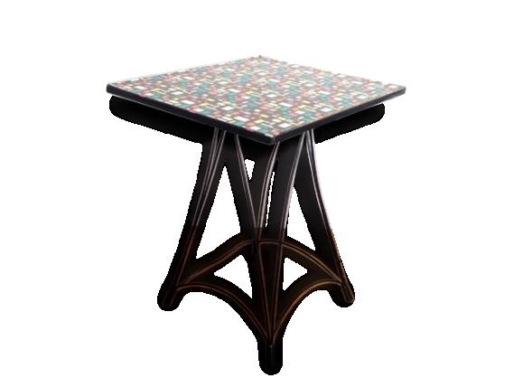 Table vintage multicolor, pieds Eiffel - années 50